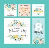 Dia internacional do ` s das mulheres Moldes do vetor com flores e rotulação Fotografia de Stock