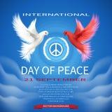 Dia internacional do vetor da paz 21 de setembro Ilustração do vetor Fotografia de Stock
