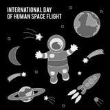 Dia internacional do voo espacial humano Ilustração do vetor para o projeto da celebração Imagem de Stock
