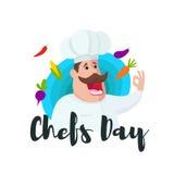 Dia internacional dos cozinheiros chefe Chefcook bonito Imagem de Stock Royalty Free