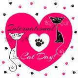 Dia internacional dos gatos Cartão do feriado Gatos brancos e pretos Desenho-estilo Gatinhos engraçados engraçados Pegadas do ` s ilustração do vetor