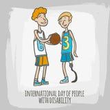 Dia internacional dos povos com fundo do conceito da inabilidade, estilo tirado mão ilustração do vetor
