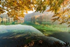 Dia morno colorido no lago Fusine na queda fotos de stock royalty free