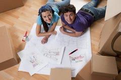 Dia movente, projetando a HOME nova fotos de stock