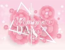 Dia mulheres ` s dia fundo internacional do projeto do sumário da flor do 8 de março Fotografia de Stock