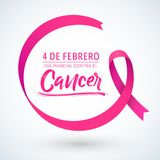 Dia mundial contra el Cancer 4 de Febrero, World day against Cancer february 4 spanish text, circular ribbon. Vector illustration - EPS available Royalty Free Stock Image