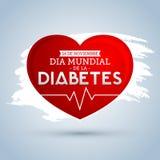 Dia mundial de Λα Diabetes - ισπανικό κείμενο στις 14 Νοεμβρίου ημέρας παγκόσμιου διαβήτη Στοκ Εικόνα
