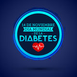 Dia mundial de la Diabetes - World Diabetes Day 14 november spanish text. vector Diabetes blue circle symbol Royalty Free Stock Photos
