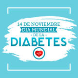 Dia mundial de la Diabetes - World Diabetes Day 14 november spanish text. Vector illustration card, poster or banner - eps available Royalty Free Stock Images