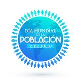 Dia Mundial de la Poblacion Julio 11, mundo población día español del 11 de julio manda un SMS Ilustración del Vector