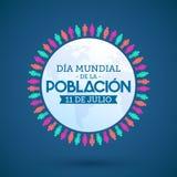 Dia Mundial de la Poblacion Julio 11, mundo población día español del 11 de julio manda un SMS Stock de ilustración