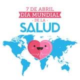 Dia Mundial de la Salud, mundo salud día texto español del 7 de abril libre illustration