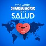 Dia mundial De Los angeles Salud - Światowych zdrowie dnia Kwietnia 7 hiszpański tekst ilustracja wektor
