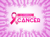 Dia mundial del Cancer - World Cancer Day 4 february spanish text. Pink ribbon with colors hands up background. Vector illustration - eps available Stock Photos