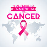 Dia mundial del Cancer - World Cancer Day 4 february spanish text. Pink ribbon and world map vector illustration - eps available Royalty Free Stock Photo
