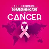 Dia mundial del Cancer - World Cancer Day 4 february spanish text. Pink ribbon and world map. Vector illustration - eps available Royalty Free Stock Photography