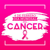 Dia mundial del Cancer - World Cancer Day 4 february spanish text. Vector illustration card, poster or banner - eps available Stock Image
