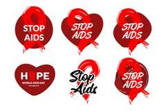 Dia Mundial do Sida dos crachás com ilustração vermelha tirada mão do vetor do projeto da fita Projeto para anúncios, cartaz do í ilustração stock