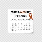 Dia Mundial do Sida Fita da consciência do AIDS O 1º de dezembro calendário Ilustração do vetor ilustração do vetor