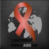 Dia Mundial do Sida Fita da consciência do AIDS O 1º de dezembro Ilustração do vetor ilustração do vetor