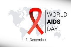 Dia Mundial do Sida o 1º de dezembro conscientização vermelha da fita do hiv Vetor Foto de Stock