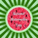 Dia nacional da melancia 3 August Watermelon cortado ao meio Pop art do fundo, raios do centro Textura do Imagens de Stock Royalty Free