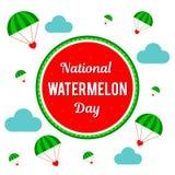 Dia nacional da melancia Ilustração do vetor para o feriado Lugar para o texto Fotos de Stock Royalty Free