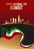 Dia nacional feliz Kuwait - skyline da silhueta da bandeira e da cidade Imagem de Stock