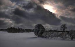 Dia nebuloso do inverno perto do monte de Juozapine Imagens de Stock