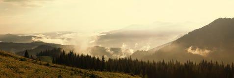 Dia nevoento nas montanhas no verão fotos de stock royalty free