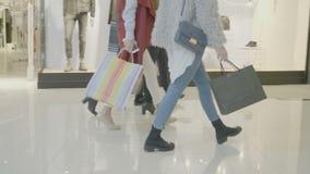 Dia ocasional do fim de semana na alameda aonde os povos andam com os sacos de compras em suas mãos - vídeos de arquivo