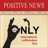 Dia positivo dos Lefthanders da notícia Foto de Stock