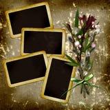 Dia's met wilgenboeket op grungeachtergrond Royalty-vrije Stock Foto