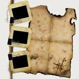 Dia's voor foto met spatie van piratenkaart Stock Foto