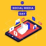Dia social dos meios ilustração do vetor