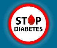 Diabète rond d'arrêt de signe avec une baisse Symbole médical Vecteur Photographie stock