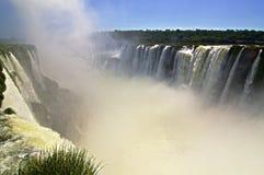 Diabła gardło przy Iguazu spadkami w Argentyna z gromadzi się jerzyki Obrazy Stock