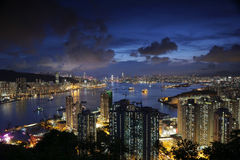 Diabła s szczytu widoku Hong kong noc Obraz Royalty Free