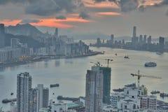 Diabła s szczytu widoku Hong kong noc Fotografia Stock