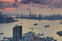 Diabła s szczytu widoku Hong kong noc Zdjęcia Stock