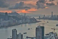 Diabła s szczytu widoku Hong kong noc Obraz Stock