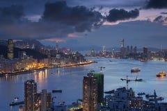 Diabła s szczytu widoku Hong kong noc Zdjęcie Royalty Free