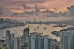 Diabła s szczytu widoku Hong kong noc Zdjęcie Stock