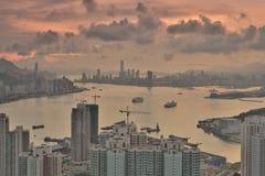 Diabła s szczytu widoku Hong kong noc Zdjęcia Royalty Free