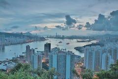 Diabła s szczytu widoku Hong kong noc Obrazy Stock