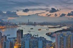 Diabła s szczytu widoku Hong kong noc Fotografia Royalty Free