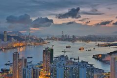 Diabła s szczytu widoku Hong kong noc Obrazy Royalty Free