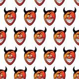 Diabeł głowy bezszwowy wzoru Obraz Royalty Free
