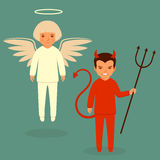 Diabeł i anioł, ilustracja wektor