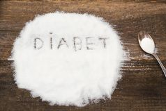 Diabet sign made of granular sugar. The picture illustrates the harm of eating sugar and salt, as well as the incidence of diabetes Stock Photos